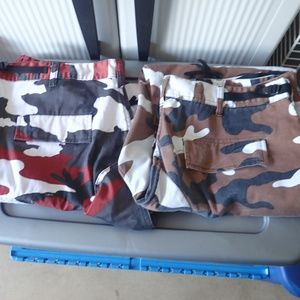 2 Pair Red & Brown Camouflage Pants Size Large